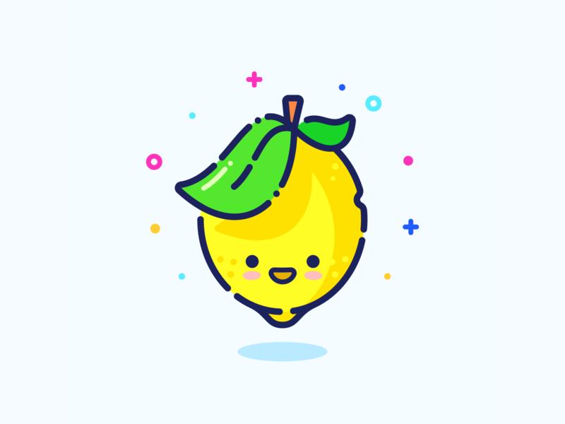 Lemon outline vector green adobe character yellow series set illustrator minimal cute web design sticker pin illustration icon fruit lemon