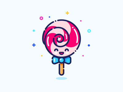 Lollipop pin sticker illustrator tasty character girl minimal cute web outline vector design set series icon illustration sweets sweet candy lollipop