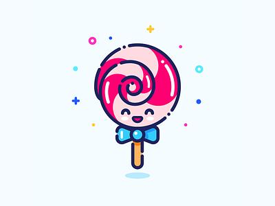 Lollipop pin sticker illustrator tasty character girl minimal cute web outline vector design set series icon illustration sweets sweet candy lollipop
