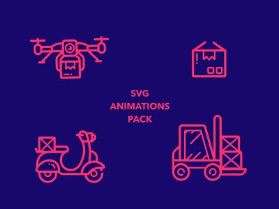 Animated Ecommerce Icons ecommerce money store shop basket forklift bike vespa delivery drone set json lottie gif svg icons icon vector design e-commerce