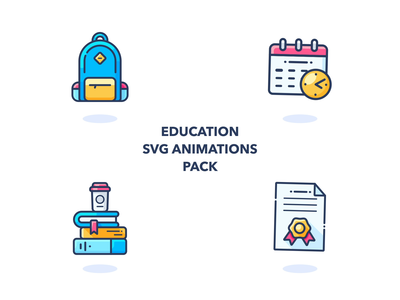 Animated Education Icons books education gif svg aftereffects outline icons calendar backpack set ui work motion animation web design illustrator vector icon illustration