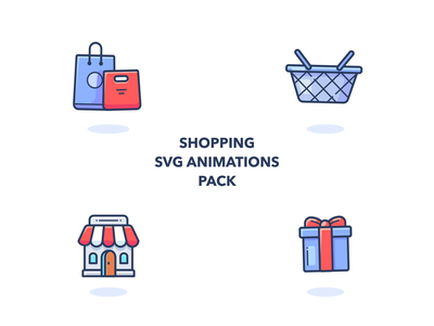 Animated Shopping Icons graphics shopping aftereffects basket bags pack json lottie svg store shop set motion animation web design illustrator vector icon illustration