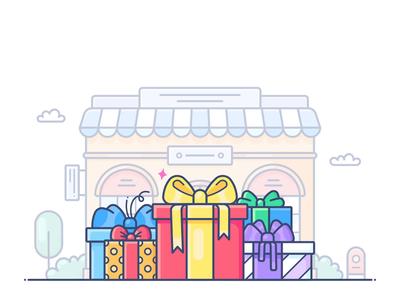 Gift present box gift design outline web onboarding icon illustration lottie svg shopify commerce e-commerce shop store online animation motion dropshippihg