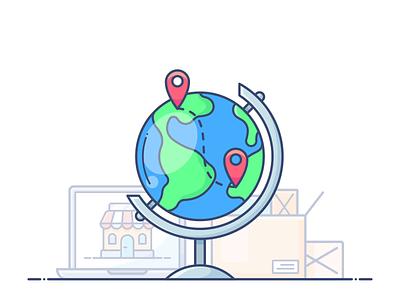 International Shipping free delivery shipping international globe design outline web icon illustration lottie svg commerce e-commerce shop store online animation motion dropshippihg