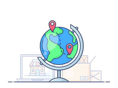 International Shipping free delivery shipping international globe design outline web icon illustration lottie svg commerce e-commerce shop store online animation motion dropshippihg