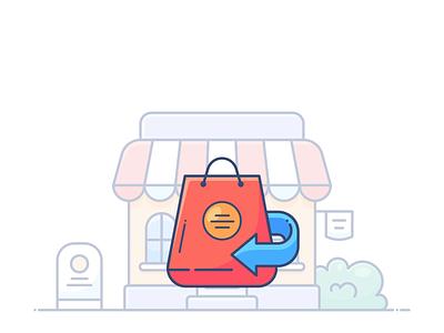 Returns bag returns design outline web onboarding icon illustration lottie svg shopify commerce e-commerce shop store online pack animation motion dropshippihg