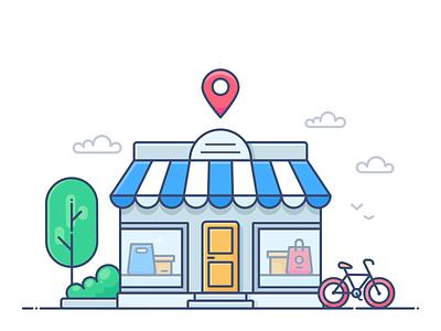 Shop map pin design outline web onboarding icon illustration lottie svg shopify commerce e-commerce shop store online pack animation motion dropshippihg