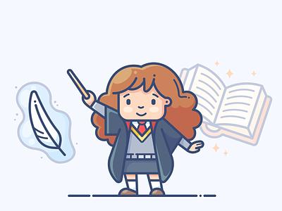 Hermione Granger procreate speedpaint series drawing fanart graphics vector adobe illustrator icon illustration spell magic outline design character granger hermione potter harry