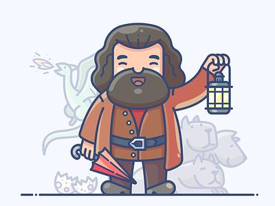 Hagrid magic lantern umbrella illustator dragon character design outline icon illustration vector graphics drawing procreate fanart series speedpaint hagrid potter harry