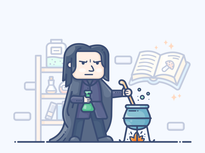 Severus Snape man illustrator procreate speedpaint vector design icon character fanart magic potter harry snape illustration book mushroom chemist chemistry wizard mage