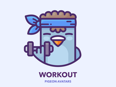 Workout profile outline series set hero vector sticker subway web design icon illustrator illustration pigeon google bird character man guy boy