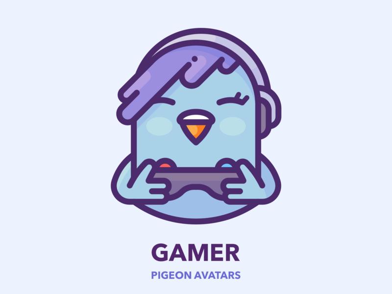 Gamer sticker avatar graphics web profile gamepad gamer game girl series bird pigeon google outline design character illustrator vector icon illustration