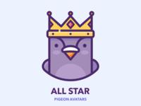 All Star procreate man hero sticker series set king crown web icon profile avatar bird design character illustration vector outline pigeon google