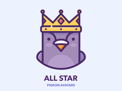 All Star procreate man hero sticker series set king crown web icon profile avatar bird design character illustration vector outline pigeon google