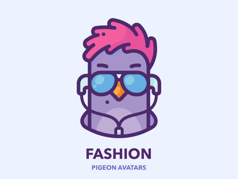 Fashion style woman fashion girl modern avatar profile pigeon google series set sticker web outline design character illustrator vector icon illustration