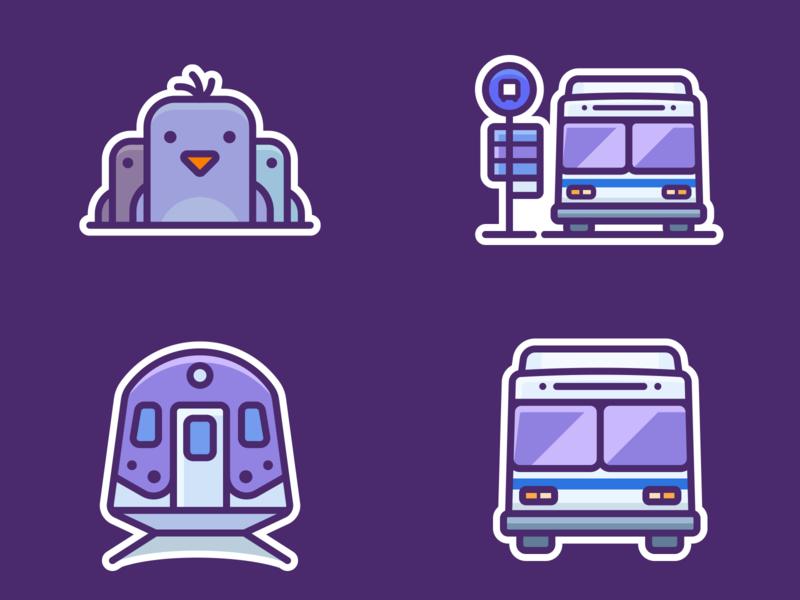 Google Pigeon Icons designer application web illustrations icons outlane outline google app small vector station train pigeon set design illustration icon sticker label