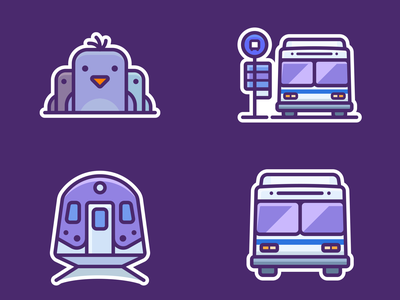 Google Pigeon Icons designer application web illustrations icons outlane outline google app small vector station train pigeon set design illustration icon sticker label