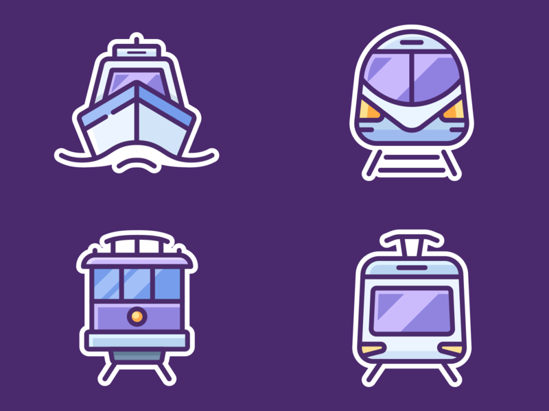 Google Pigeon Icons graphics vector onboarding sticker road ship boat train vehicle car series set application web design icon illustration app pigeon google