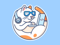 Mark Catckerberg picture profile avatar character animal series set vector earphones macbook notebook ux ui web illustration icon design sticker programmer cat