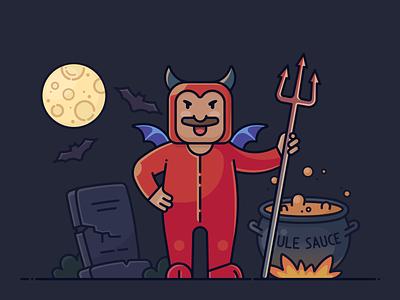 Vinny's Costume for Halloween wings sauce moon playful hero character web illustrator graveyard bat man vector halloween design icon night illustration satan devil costume