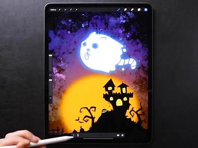 Ghostly Cat 👻 speedpaint character tutorial catroon web design motion drawing ipad procreate5 procreate night castle ghost cat icon animation illustration halloween2019 halloween