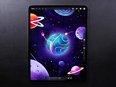 Universe Magic ✨ cycle video speedart ipad procreate speedpaint drawing draw creative illustration graphics frame animation star sun moon planet space magic universe