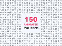 150 Animated Icons Pack space business e-commerce science food animated web design motion gif illustrator after effects pack set lottie svg vector illustration animation icon