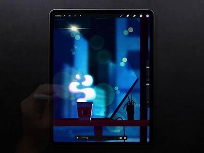 Late Night in a Coffeeshop ☕️ design illustrator animator loop smoke motion animation chill night art web illustration coffee vector speedpaint tutorial process drawing ipad procreate