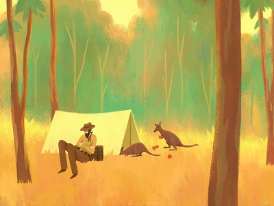 Sneaky Business apples illustration afternoon camping kangaroo bush australia wallaby
