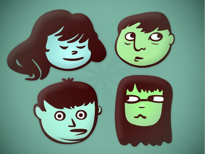 Floating Heads illustration heads characters