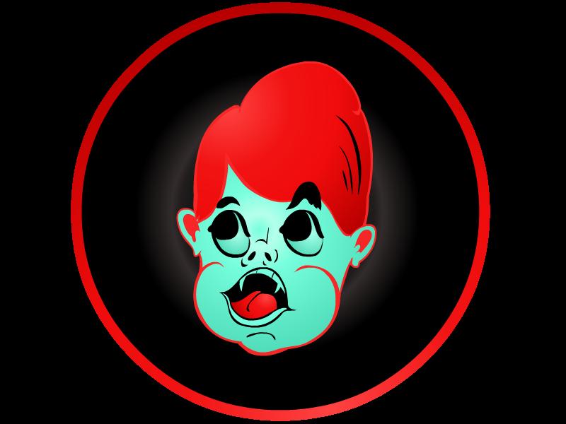 Little Vampire Stamp vampire mark black red illustration button
