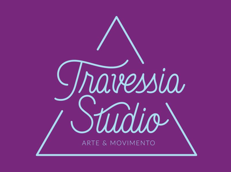 Travessia Studio Logotype dance yoga logo yoga cursive script lettering script vector branding logo design graphic design typography lettering