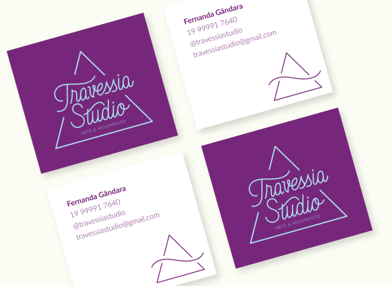 Travessia Studio Business Cards square business card design yoga studio business card vector branding logo graphic design typography