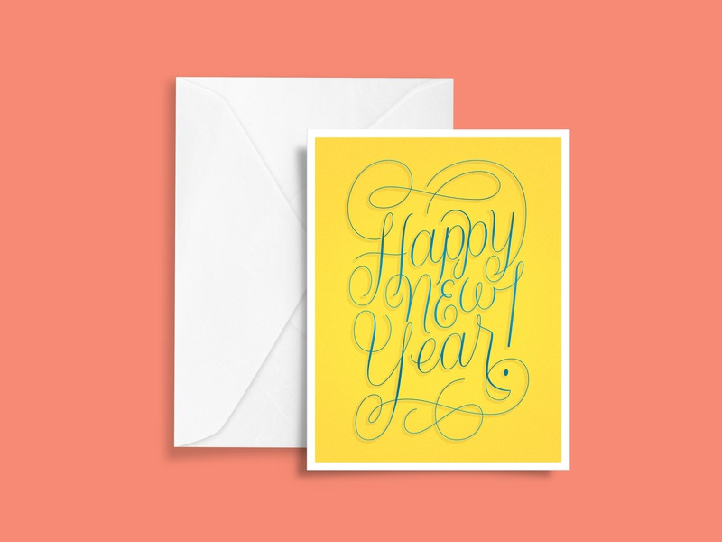 Happy New Year new years eve greeting card inspiration graphic design new year 2019 new year postcard illustration typography lettering