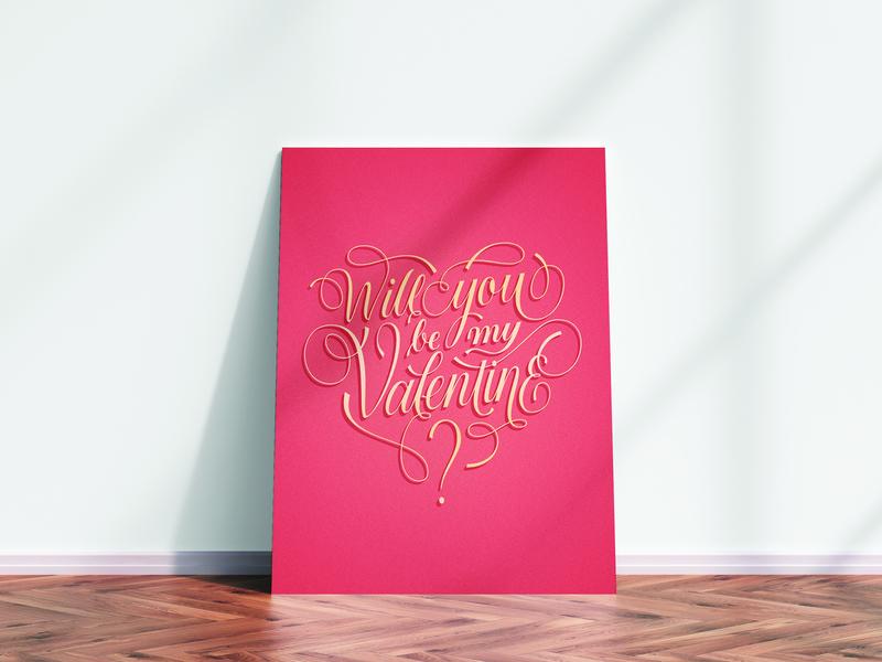 Valentine's Day Poster/Postcard valentinesday poster handlettering social media lettering artist inspiration graphic design postcard illustration typography lettering