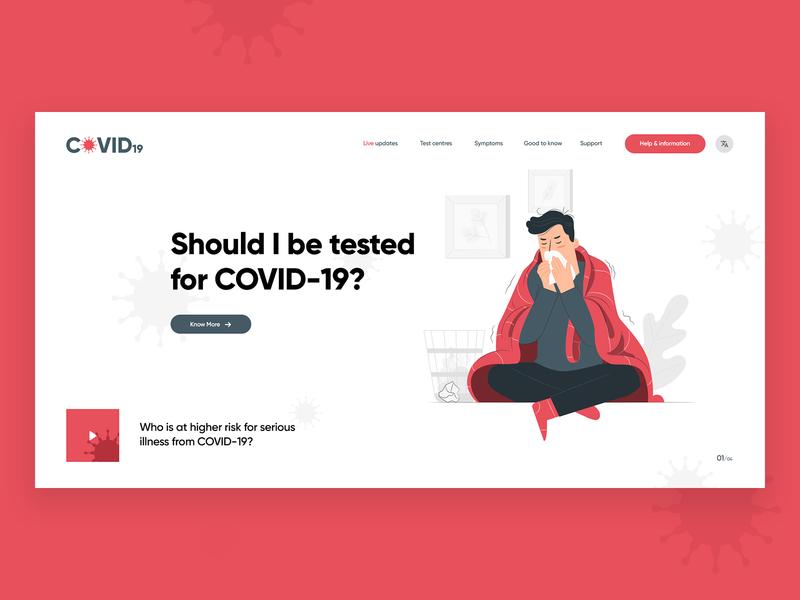 COVID-19 Hero Section covid19 ui design social media graphic design digital marketing agency branding advertising agency