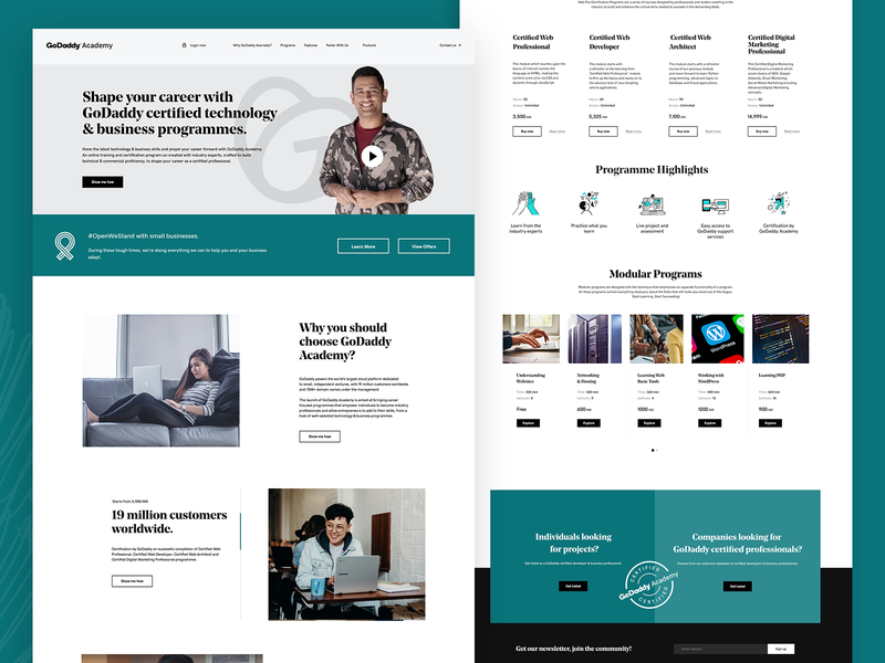 GoDaddy Academy illustration mockup animation social media html css graphic design ui design branding digital marketing agency advertising agency
