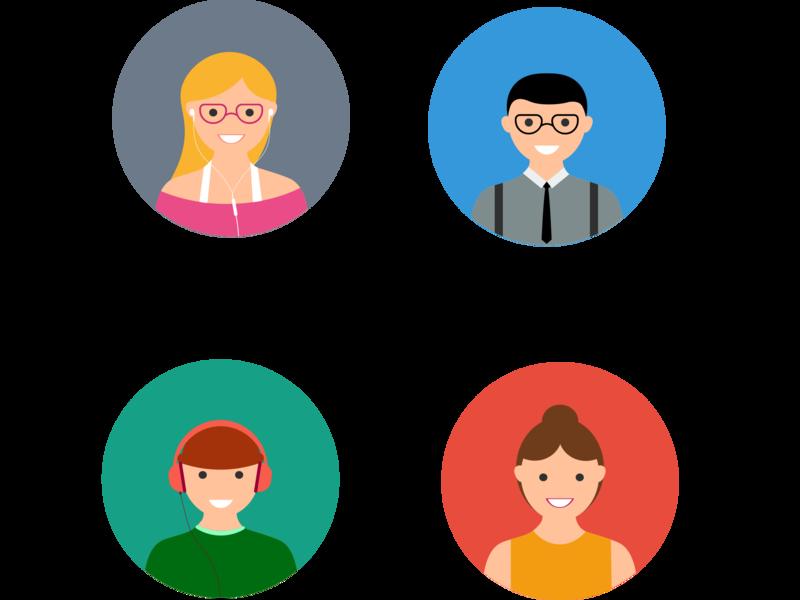 Flat avatar icons ui web icon branding vector illustration app design