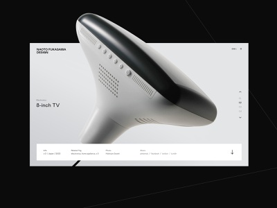 Naoto Fukasawa Design - Product Page product design desktop website product animation grid black interaction web typography minimal ux ui design