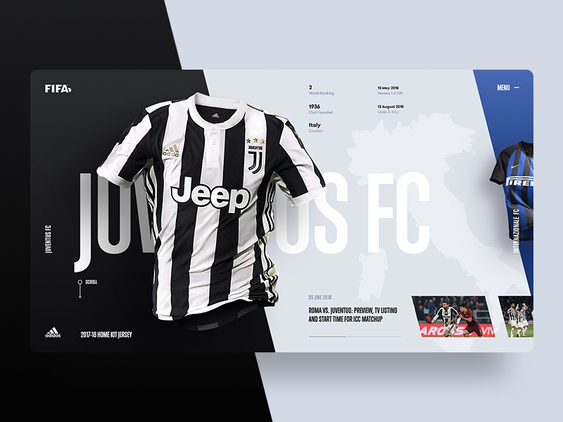 b854325e48d Juve Jersey Home Kit fifa design web soccer ui ux grid color jersey minimal  sport 2018