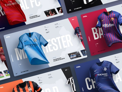 Kit of Football Teams Jersey fifa grid jersey hero minimal ux ui clothes soccer concept web design