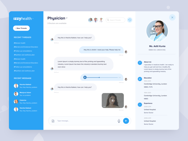 Medical App  I  Chat with Doctors history message medical website health landing page medical design patient profile physican threads healthcare dashboard hospital healthcare app doctor chat medical dashboard doctor and  patient doctor profile message and chat chat doctor app medical app
