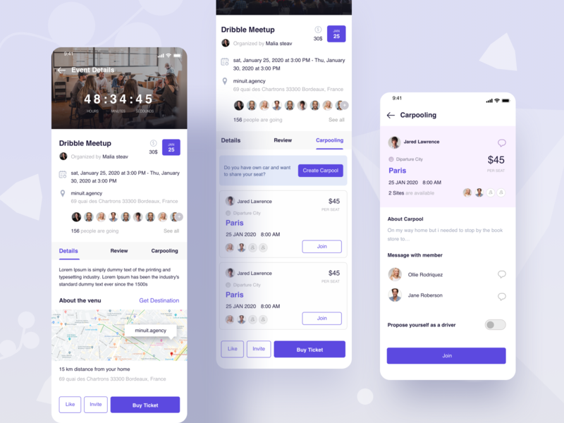 Event Details review date guest dj location countdown uidesign ux design csestudy web case study ride sharing app event and carpooling app price buy ticket destination casestudy ux case study user profile event details carpooling app event app