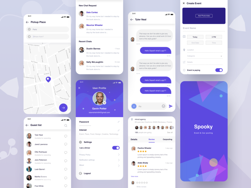 Spooky App event branding android app ios app guest list pool party message search location pickup map review create event splashscreen chatbox user profile ride sharing app rideshare carpool carpooling app event app