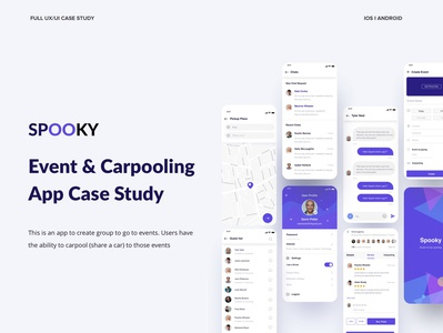 Spooky Case Study on Behance map user profile behance payment uxui casestudy events france location ride share carpool uxdesign ux steps app case studies web case studies party app app design carpooling app event app