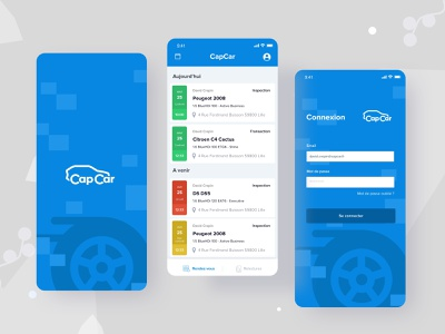 Cars Inspection App automobile app automobile signup used car capcar buy and sell car buy car blue splashscreen quality inspection car maintenance car app calander appointments appointment login vehicle design inspector car inspection app car inspection