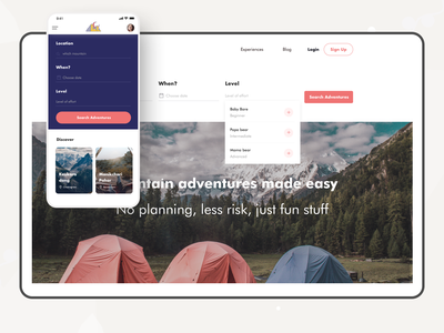 The Mountains agency website ux job interview location transition form planing adventure job interview remotework responsive design hiking trails young professionals airbnb wildlife mountain job requirements landingpage travel website travel app