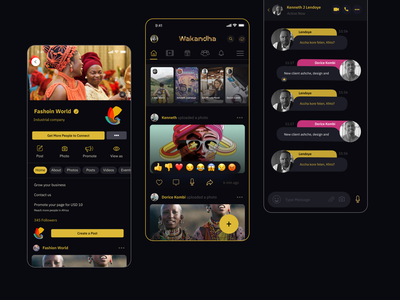 Wakandha  I  Social App create post audio app instagram group chat search notification home page reaction yellow black black people african app personal app chat app message newsfeed facebook app social network social media design social app