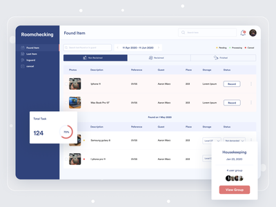 Lost and Found house room app saas landing page saas website saas erp office management shop management restaurant app datepicker status bar pending roomchecking found objects lost homepage hotel hotel management app maintenance hotel management