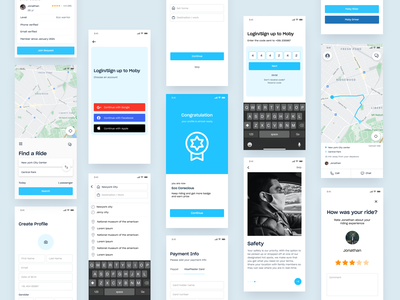 CarPool App II rider app driver rider app payment info login signup map view map app destination reward page onboarding screen feedback page payment ui payment page create profile otp design car app uber ride share ride sharing app carpooling app carpool app